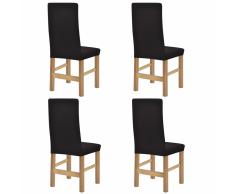 vidaXL Fundas elásticas para silla 4 uds marrón poliéster