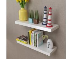 vidaXL 2 estantes exhibidores flotantes de tablero DM blanco para libros/DVDs