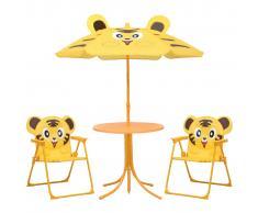 vidaXL Mesa y sillas de jardín infantil 3 pzas con sombrilla amarillo