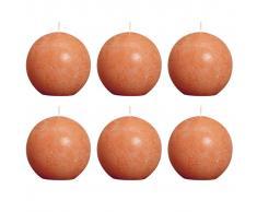 Bolsius Velas rústicas de bola 6 unidades 80 mm naranjas