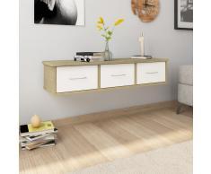 vidaXL Estante cajones pared aglomerado blanco y Sonoma 90x26x18,5 cm