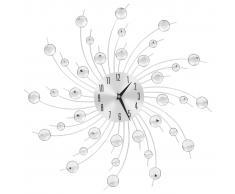 vidaXL Reloj de pared con movimiento de cuarzo 50 cm plateado