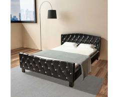 vidaXL Cama con colchón viscoelástico cuero sintético negro 140x200 cm