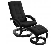 vidaXL Sillón reclinable con reposapiés tela tacto de ante negro