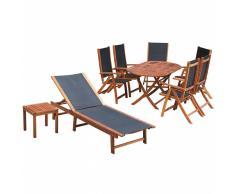 vidaXL Set de muebles jardín 9 piezas madera acacia y textilene