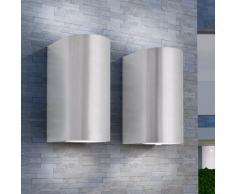vidaXL Lámpara de pared exterior 2 uds. redonda ascendente/descendente