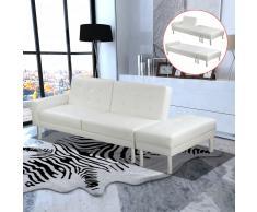 vidaXL Sofá cama de cuero artificial blanco