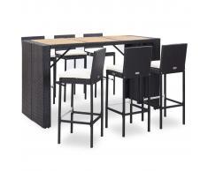 vidaXL Set muebles bar jardín 7 piezas y cojines ratán sintético negro