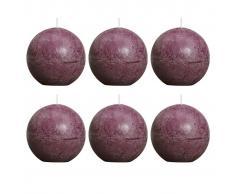 Bolsius Velas rústicas de bola 6 unidades 80 mm moradas