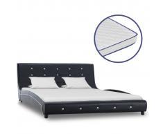 vidaXL Cama con colchón viscoelástico cuero sintético negro 140x200cm