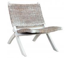 vidaXL Silla de ratán kubu natural y madera maciza de caoba blanco