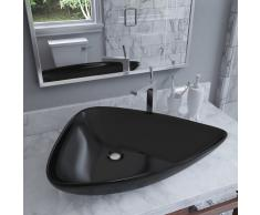 vidaXL Lavabo de cerámica triangular negro 645x455x115 mm