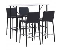 vidaXL Juego de mesa alta y taburetes 5 piezas cuero sintético negro