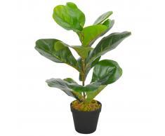 vidaXL Planta artificial ficus con macetero 45 cm verde