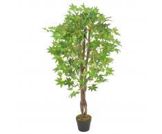 vidaXL Planta artificial árbol de arce con macetero verde 120 cm
