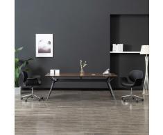 vidaXL Silla de comedor giratoria cuero sintético negro
