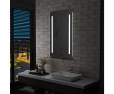 vidaXL Espejo de pared de baño con LED y estante 60x100 cm