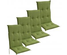 vidaXL Cojín para sillas de jardín 4 unidades 117x49 cm verde