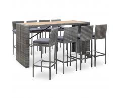 vidaXL Muebles de bar jardín 9 pzas ratán sintético madera acacia gris