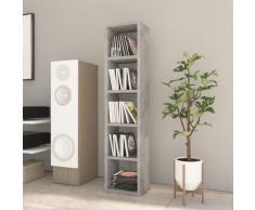 vidaXL Estantería de CDs hormigón aglomerado gris 21x16x93,5cm