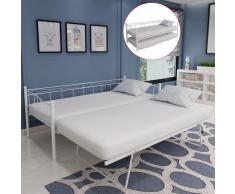 vidaXL Estructura de cama de acero blanca 180x200/90x200 cm