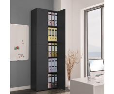 vidaXL Armario de oficina de aglomerado gris 60x32x190 cm