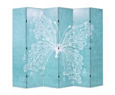 vidaXL Biombo divisor plegable 228x180 cm mariposa azul