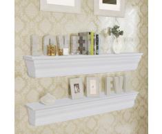 vidaXL estanterías de pared blancas Aaliyah 2 unidades