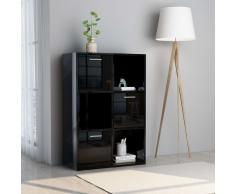 vidaXL Armario almacenamiento aglomerado negro brillante 60x29,5x90 cm