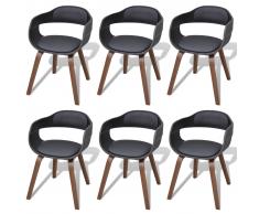 vidaXL Sillas de comedor 6 uds madera curvada con cuero artificial