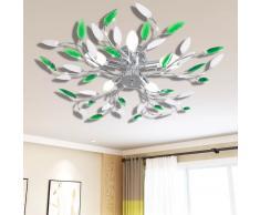 vidaXL Lámpara de techo con brazos de cristal forma de hoja 5 bombillas E14 verde y blanca