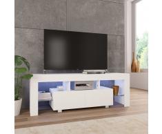 vidaXL Mueble para TV con luces LED blanco brillante 130x35x45 cm