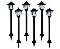 vidaXL Lámparas solares LED de exterior 6 unidades negras