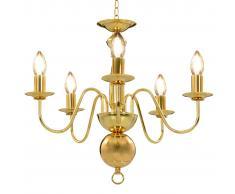 vidaXL Lámpara de araña dorada con 5 bombillas E14