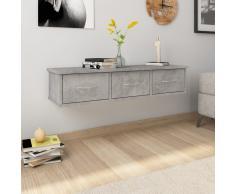 vidaXL Estante con cajones pared aglomerado gris hormigón 90x26x18,5cm