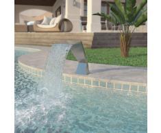 vidaXL Fuente de piscina de acero inoxidable plateada 64x30x52 cm