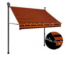 vidaXL Toldo manual retráctil con LED naranja y marrón 200 cm