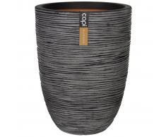 Capi Macetero Nature Rib elegante bajo 46x58 cm gris antracita KOFZ783