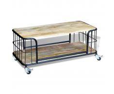 vidaXL Mesa de centro de madera maciza reciclada 100x50x35 cm