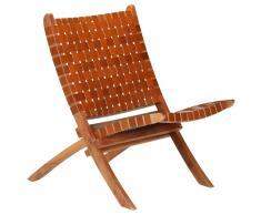 vidaXL Silla plegable de tiras cruzadas de cuero auténtico marrón