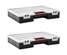 vidaXL Caja compartimentos 2 uds divisores plástico 460x325x80 mm
