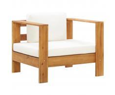vidaXL Silla de jardín con cojín madera maciza de acacia color crema