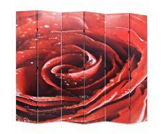 vidaXL Biombo divisor plegable 228x180 cm rosa roja