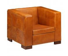 vidaXL Sillón en forma de cubo de cuero auténtico marrón claro