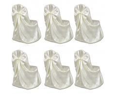 vidaXL Set de 6 Fundas de color crema para sillas, banquetes y bodas