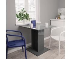 vidaXL Mesa de comedor de aglomerado gris brillante 80x80x75 cm