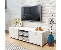 vidaXL Aparador para TV de alto brillo 120x40,3x34,7 cm blanco