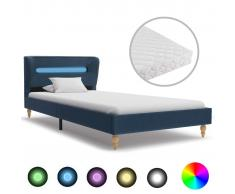 vidaXL Cama con LED y colchón tela azul 90x200 cm