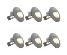 vidaXL Lámparas LED de pared para jardín 6 uds. redonda plateada 5 W