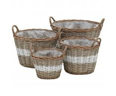 vidaXL Juego cestas almacenaje mimbre con revestimiento de PE 4 piezas